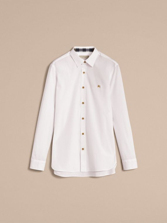 Resin Button Cotton Poplin Shirt in White - Men | Burberry - cell image 3