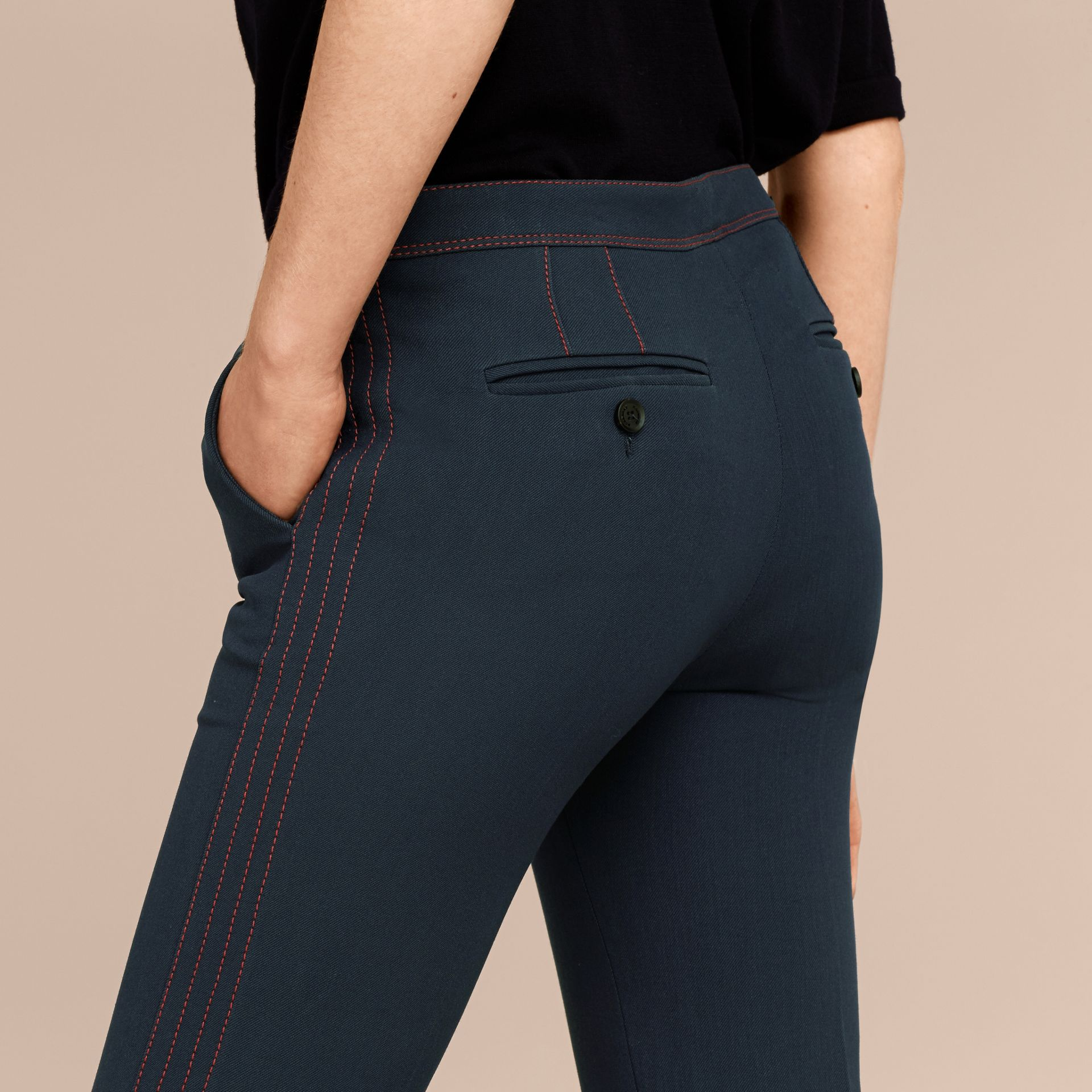 Ink blue Wool Silk Boot-cut Trousers - gallery image 5