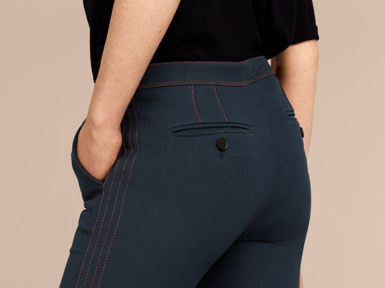 Ink blue Wool Silk Boot-cut Trousers - cell image 4