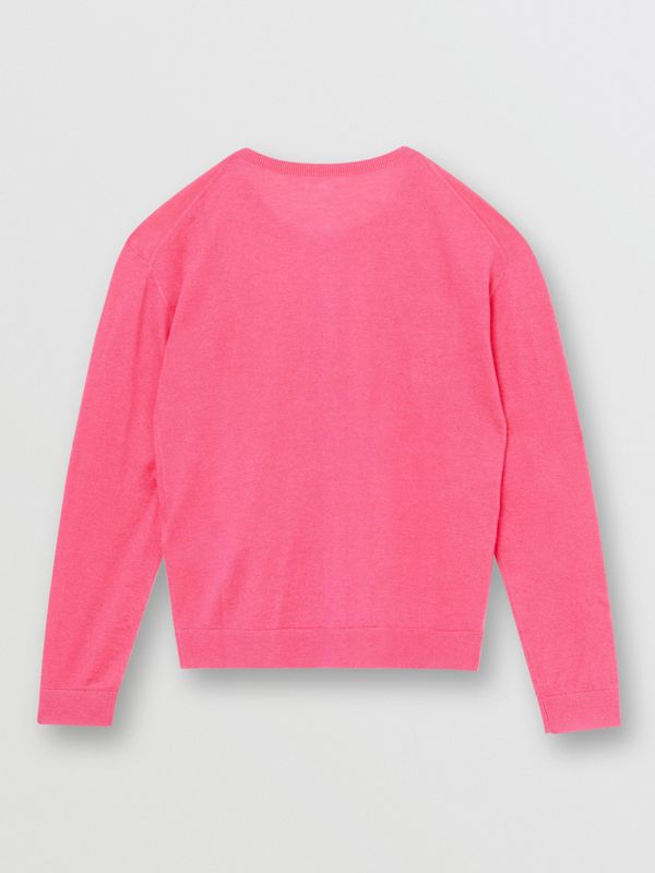 Logo Print Cashmere Two-piece Set in Fuchsia Pink - Children | Burberry - cell image 3