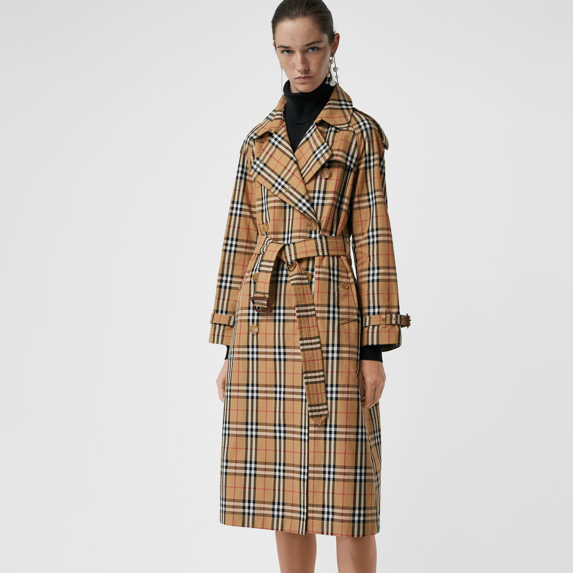 Vintage Check Cotton Trench Coat in Antique Yellow - Women | Burberry Singapore - gallery image 6