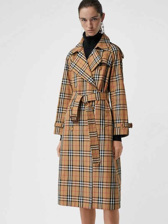 Vintage Check Cotton Trench Coat in Antique Yellow