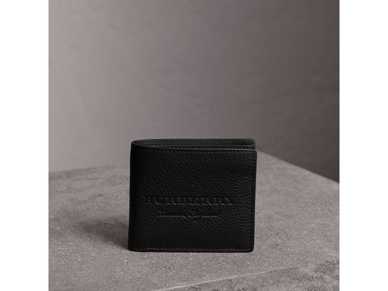 Embossed Leather Bifold Wallet in Black - Men | Burberry Australia - cell image 4