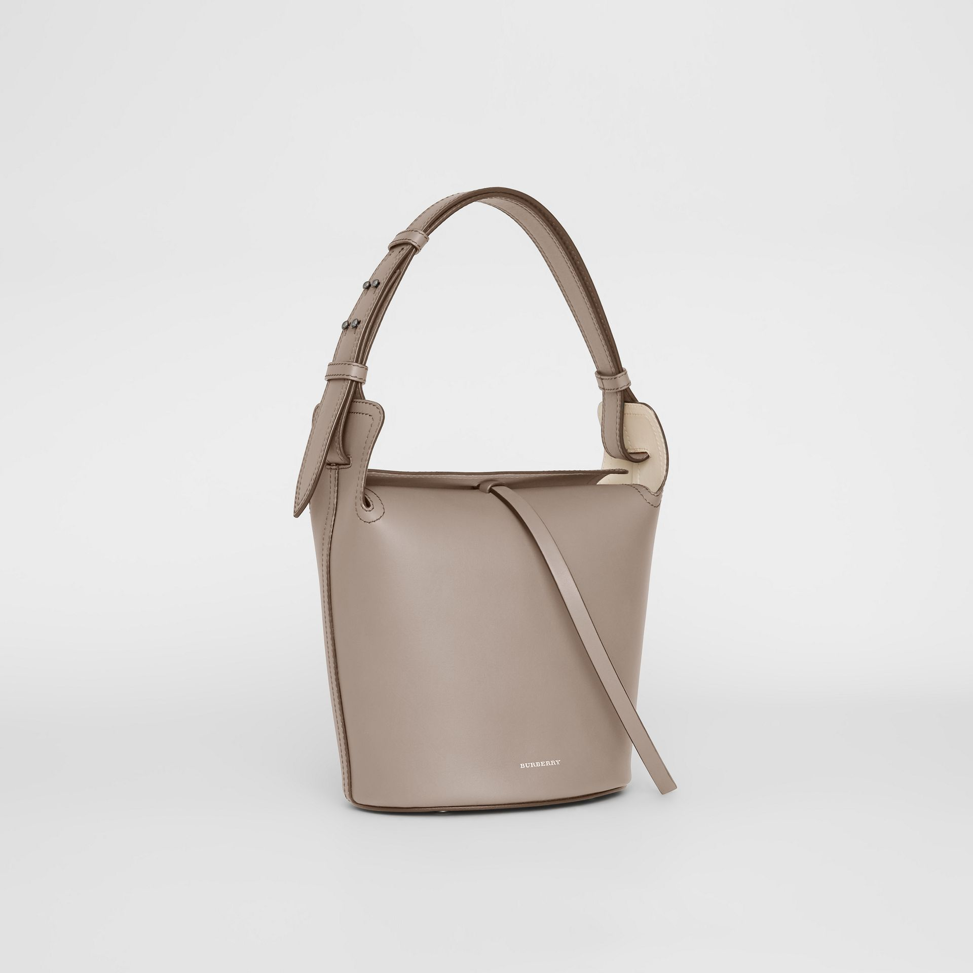 The Small Leather Bucket Bag in Taupe Brown - Women | Burberry - gallery image 4
