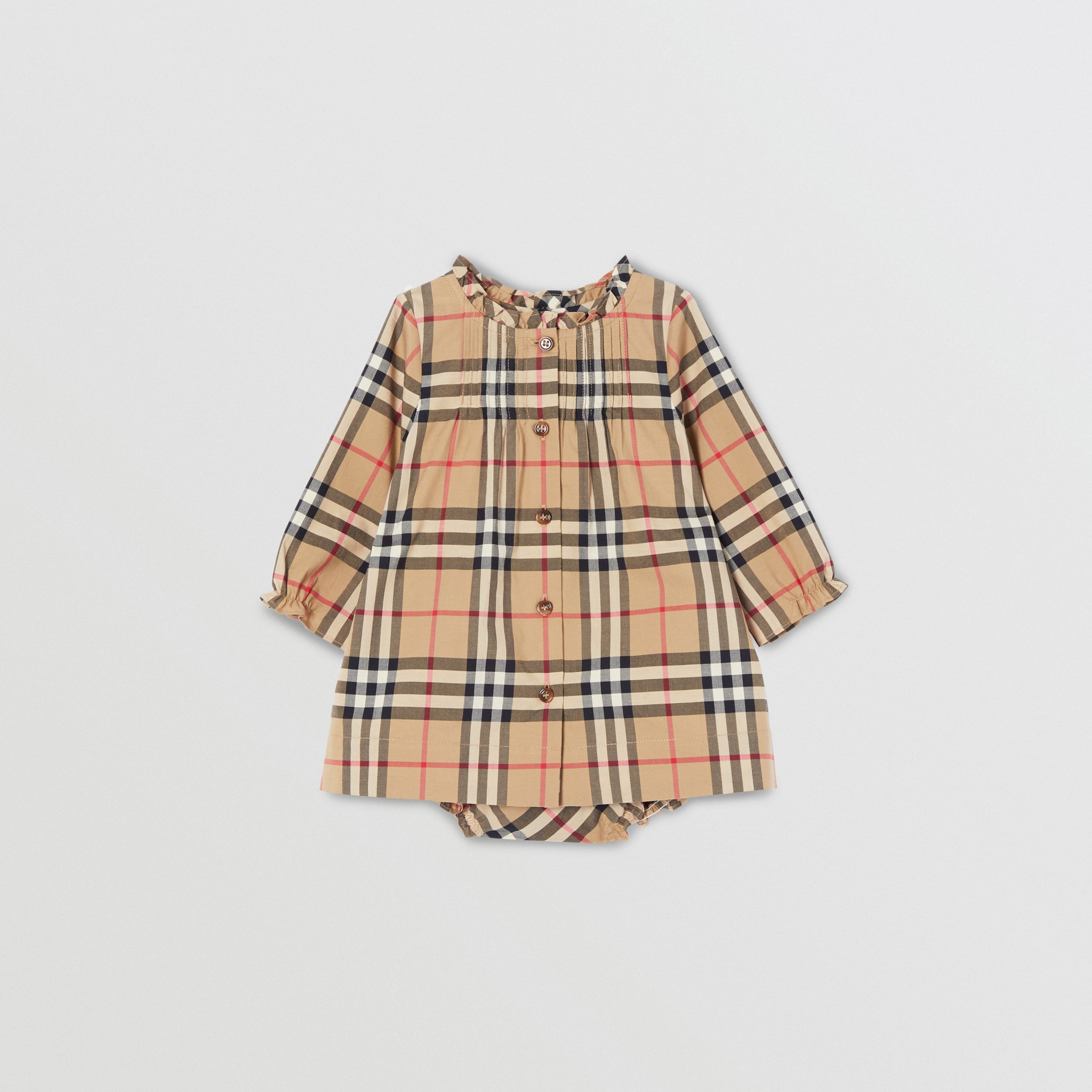 Vintage Check Cotton Dress with Bloomers in Archive Beige - Children | Burberry - 1