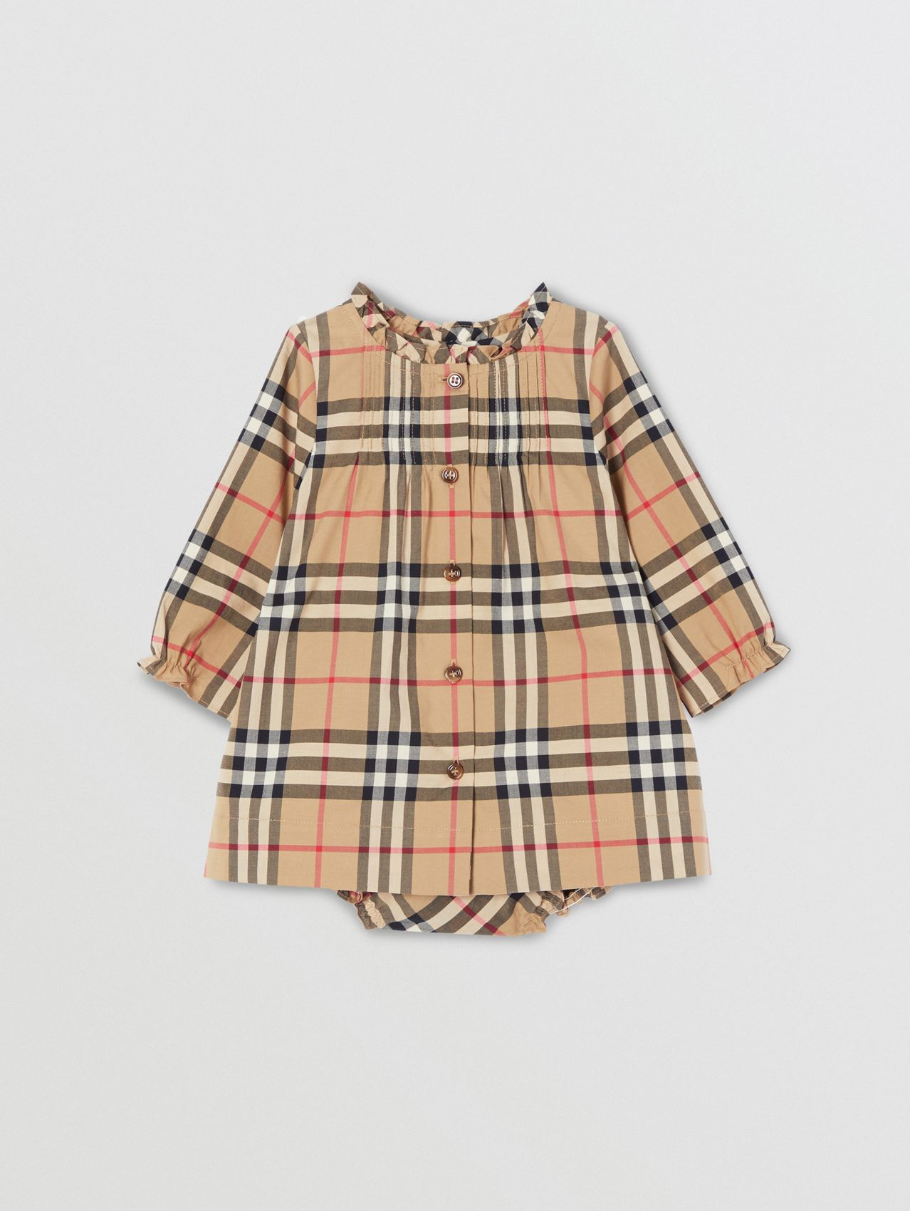 Vintage Check Cotton Dress with Bloomers in Archive Beige