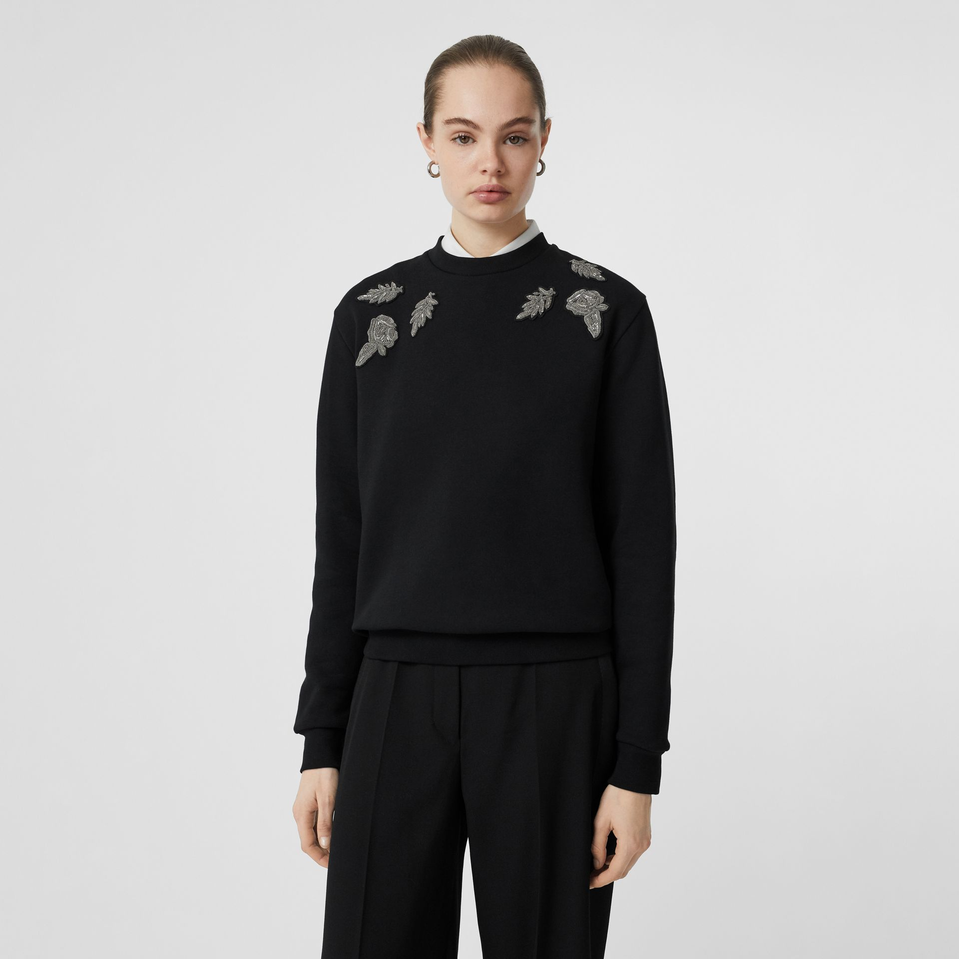 Bullion Floral Cotton Blend Sweatshirt in Black - Women | Burberry - gallery image 5