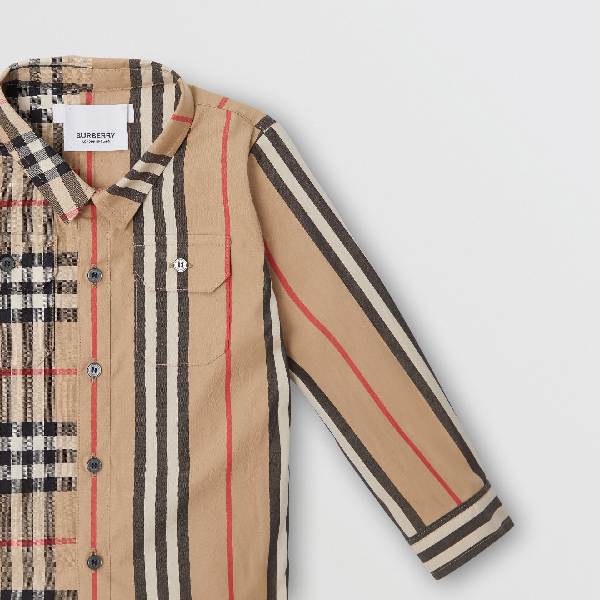 Panelled Vintage Check and Icon Stripe Cotton Shirt in Archive Beige - Children | Burberry United Kingdom - gallery image 4