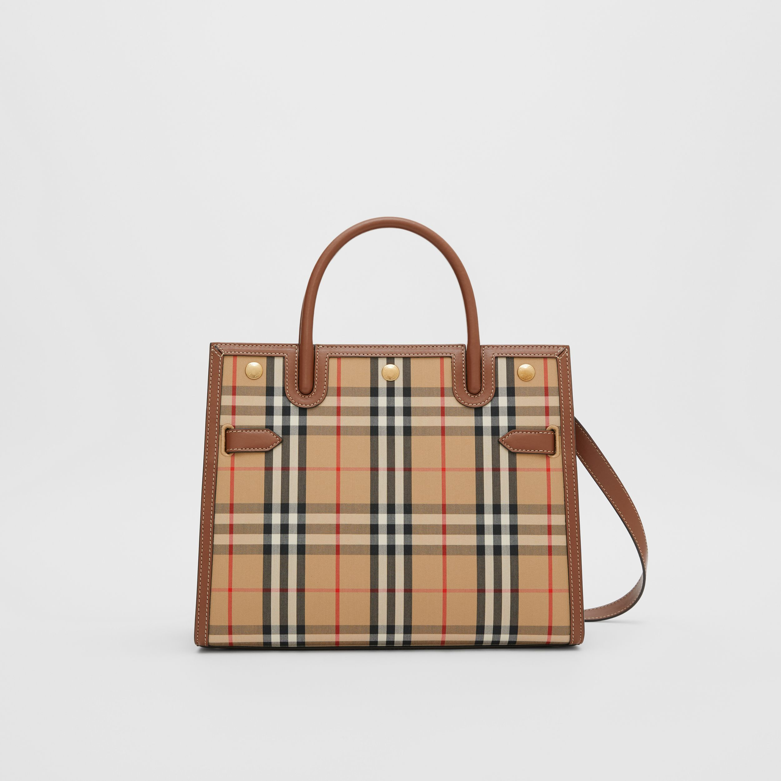 Small Vintage Check Two-handle Title Bag in Archive Beige - Women | Burberry - 1