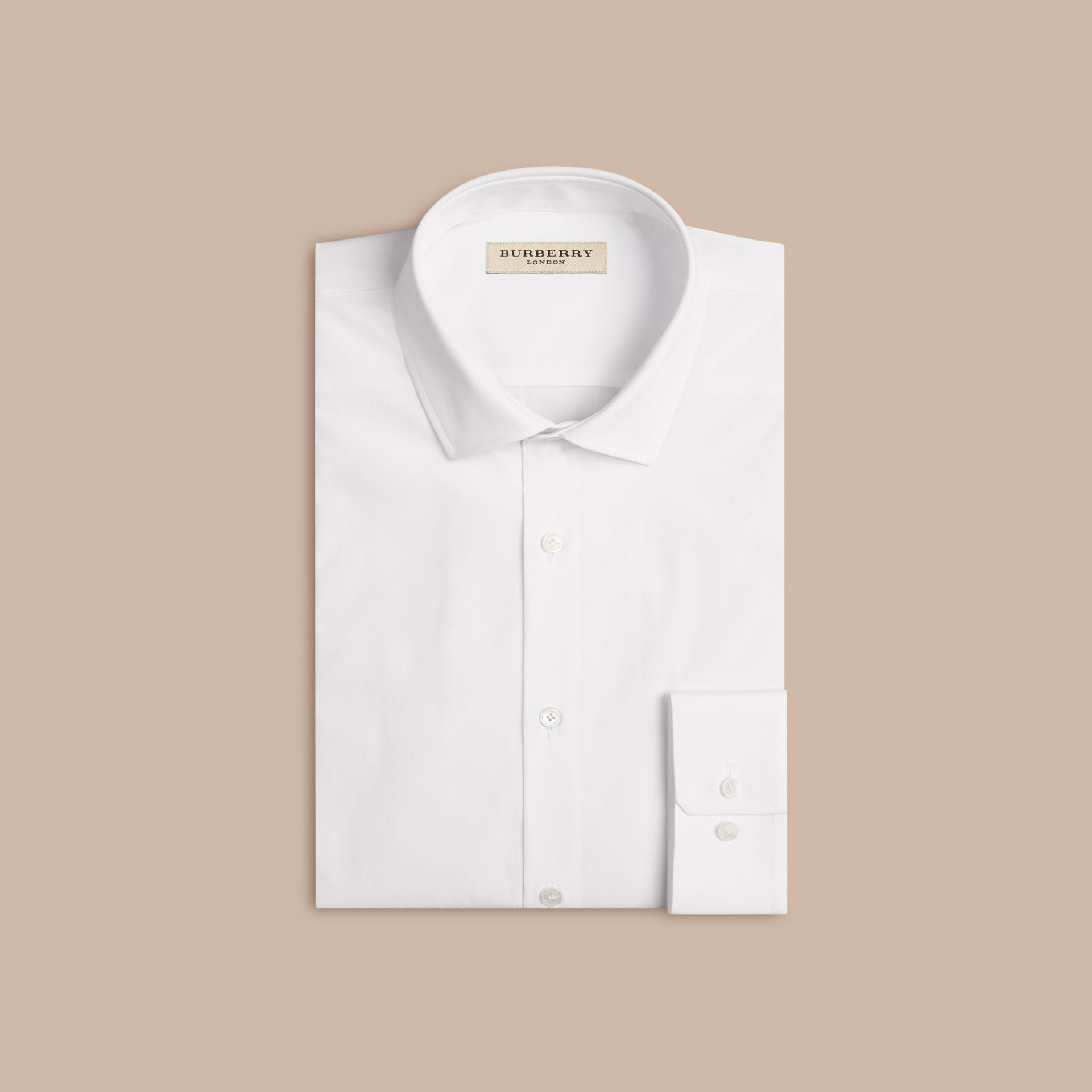 Modern Fit Stretch Cotton Shirt in White - Men | Burberry - gallery image 4