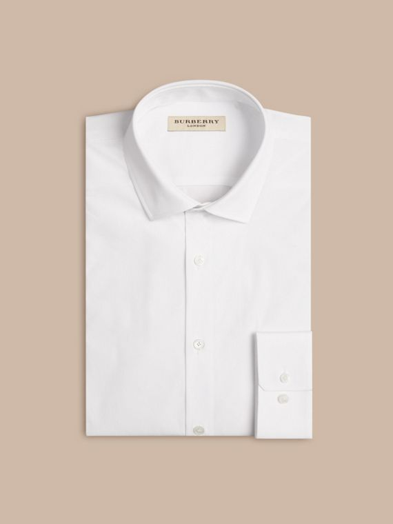 Modern Fit Stretch Cotton Shirt in White - cell image 3