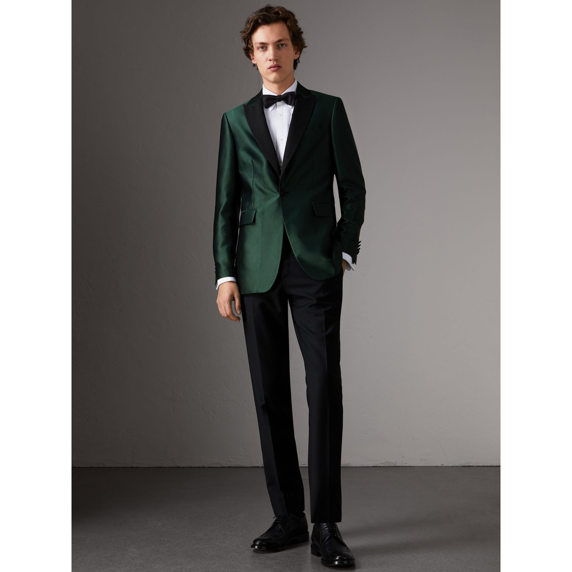 Soho Fit Jacquard Evening Jacket in Forest Green - Men | Burberry - gallery image 0