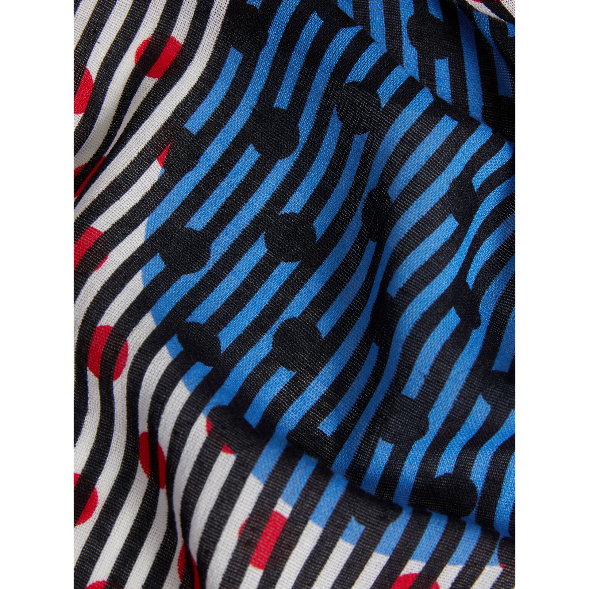 Graphic Spot and Stripe Print Silk Cotton Scarf in Azure Blue | Burberry - gallery image 1