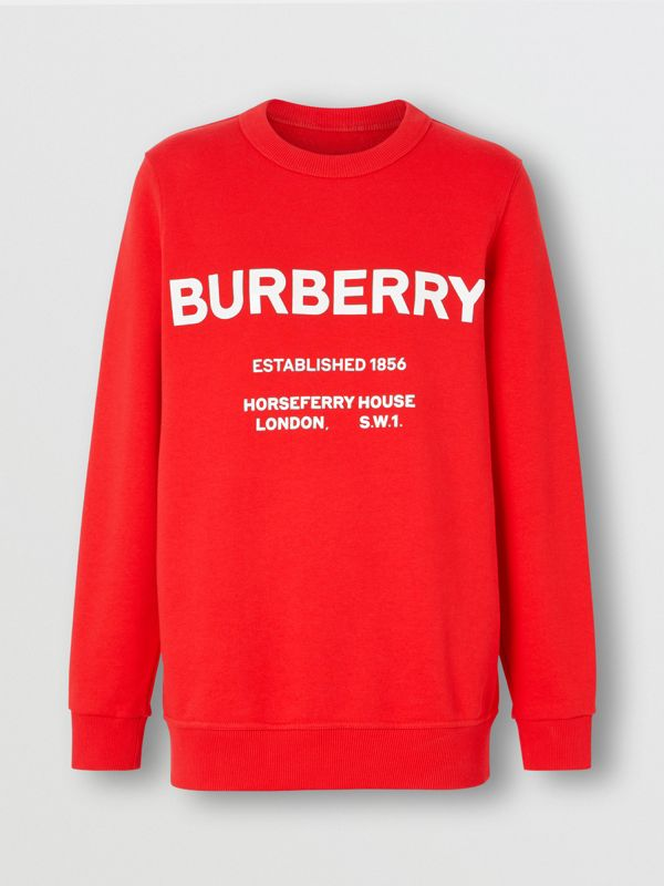 Horseferry Print Cotton Sweatshirt in Bright Red - Women | Burberry United States - cell image 3