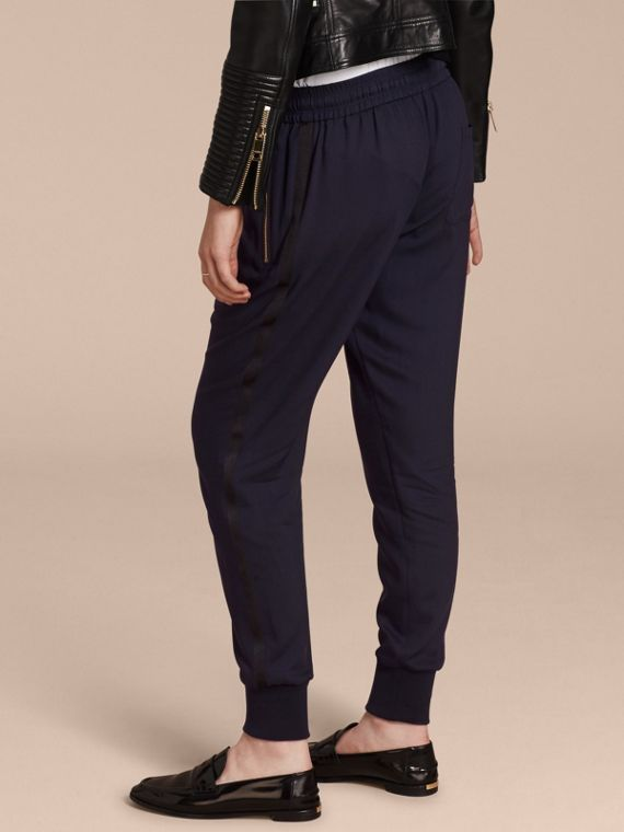 Zip Detail Jersey Sweat Pants Navy - cell image 2