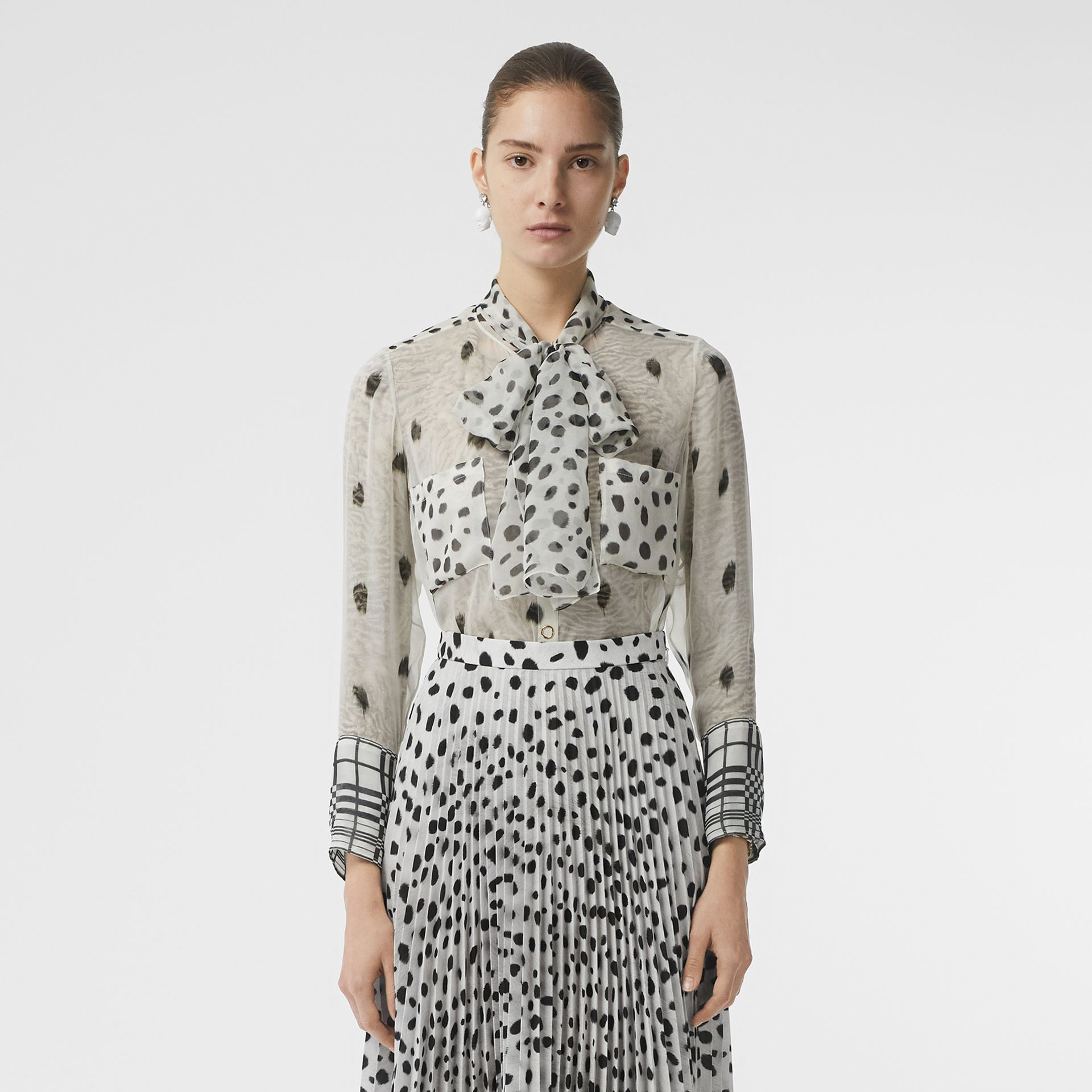 Dalmatian Print Silk Pussy-bow Blouse in Black/white - Women | Burberry - gallery image 6
