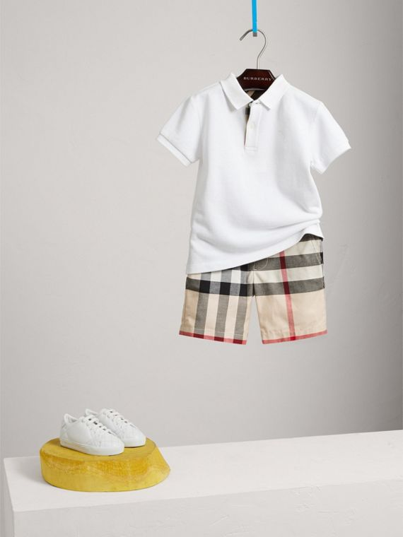 Check Cotton Chino Shorts in Stone - Boy | Burberry - cell image 2