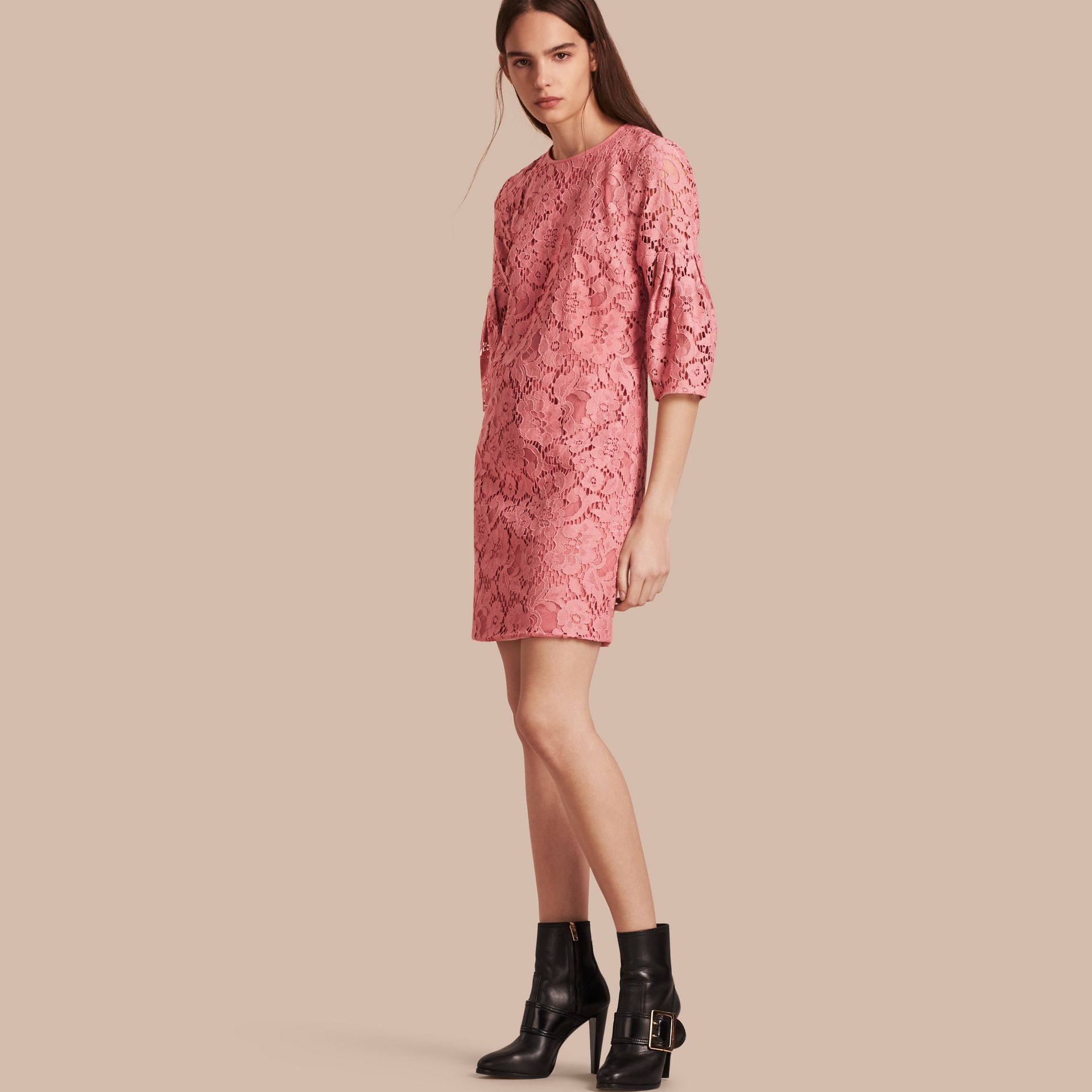 Puff-sleeved Floral Lace Shift Dress - gallery image 1