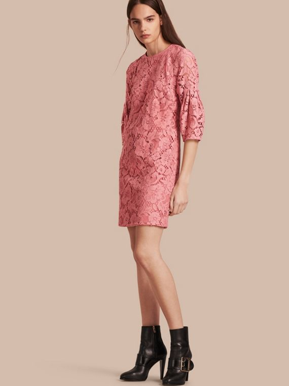 Puff-sleeved Floral Lace Shift Dress Antique Rose