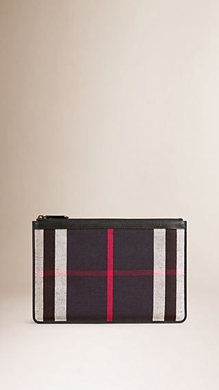 Canvas Check Zipped Pouch