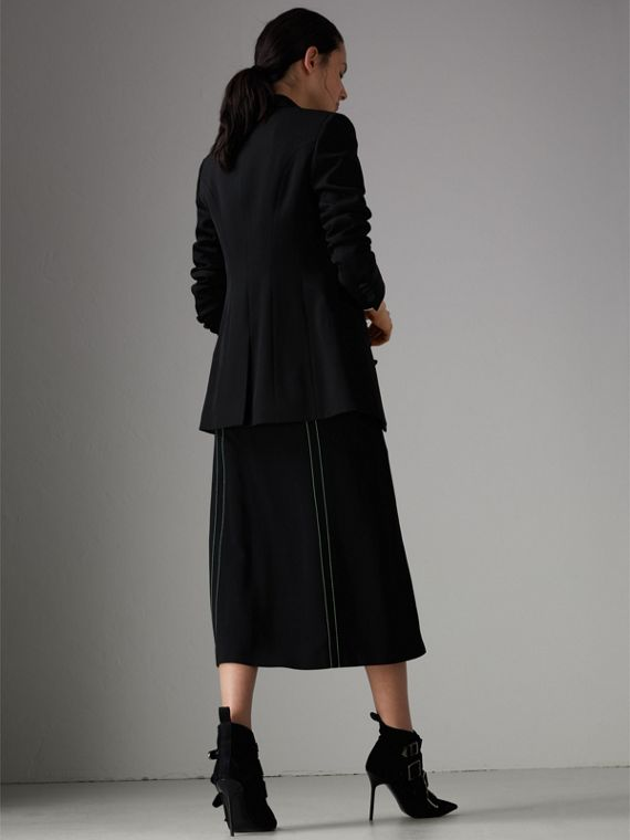 Silk Satin Detail Wool Tailored Jacket in Black - Women | Burberry Singapore - cell image 2