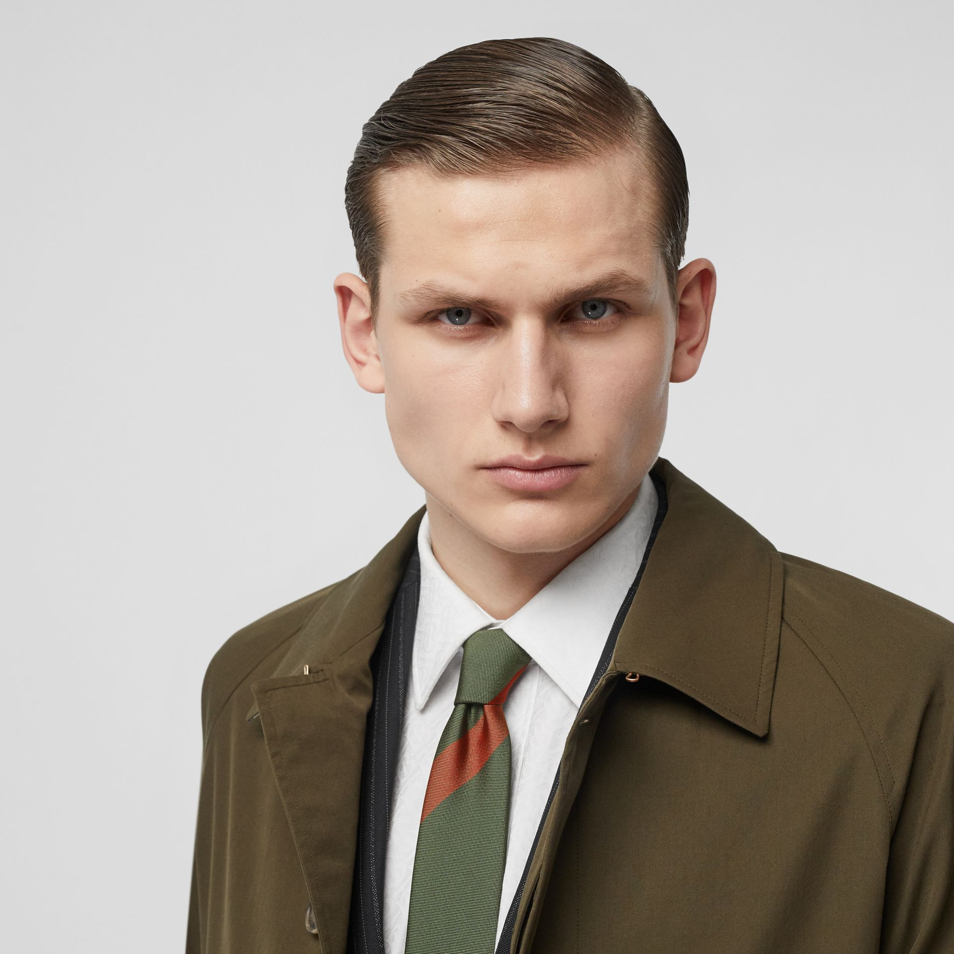 Modern Cut Oversized Check Silk Tie in Utility Green - Men | Burberry United States - gallery image 2