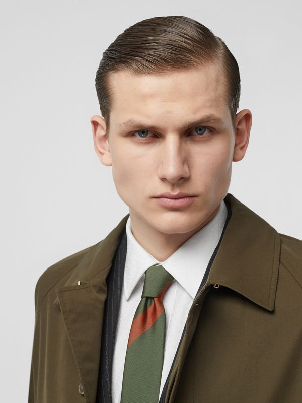 Modern Cut Oversized Check Silk Tie in Utility Green - Men | Burberry United States - cell image 2