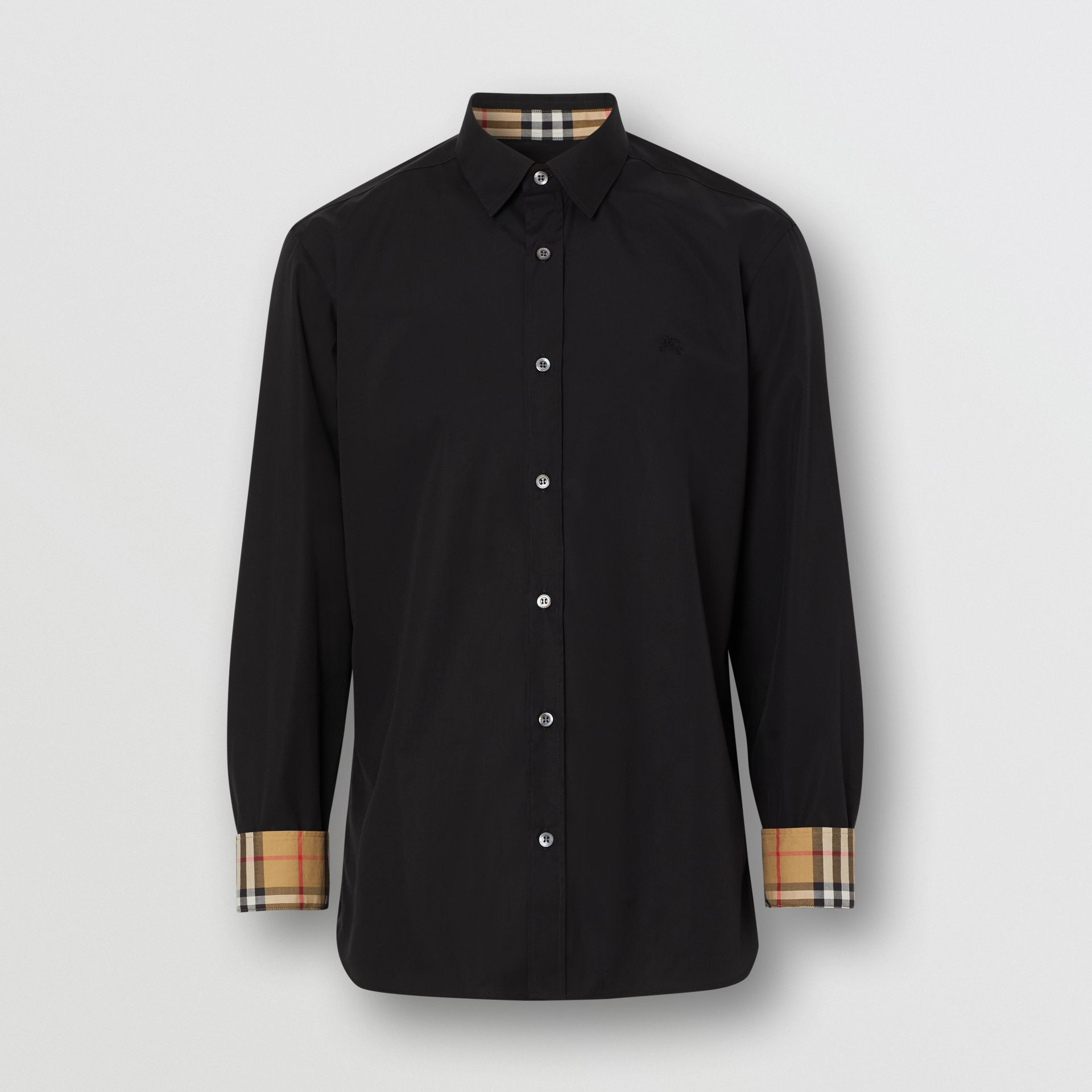 Stretch Cotton Poplin Shirt in Black - Men | Burberry United States - gallery image 3