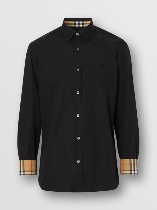 Stretch Cotton Poplin Shirt in Black - Men | Burberry United States - cell image 3