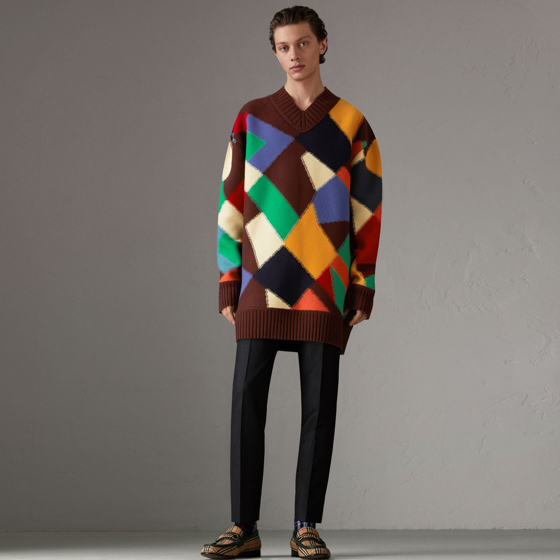 Patchwork Wool V-neck Sweater in Deep Claret | Burberry - gallery image 0