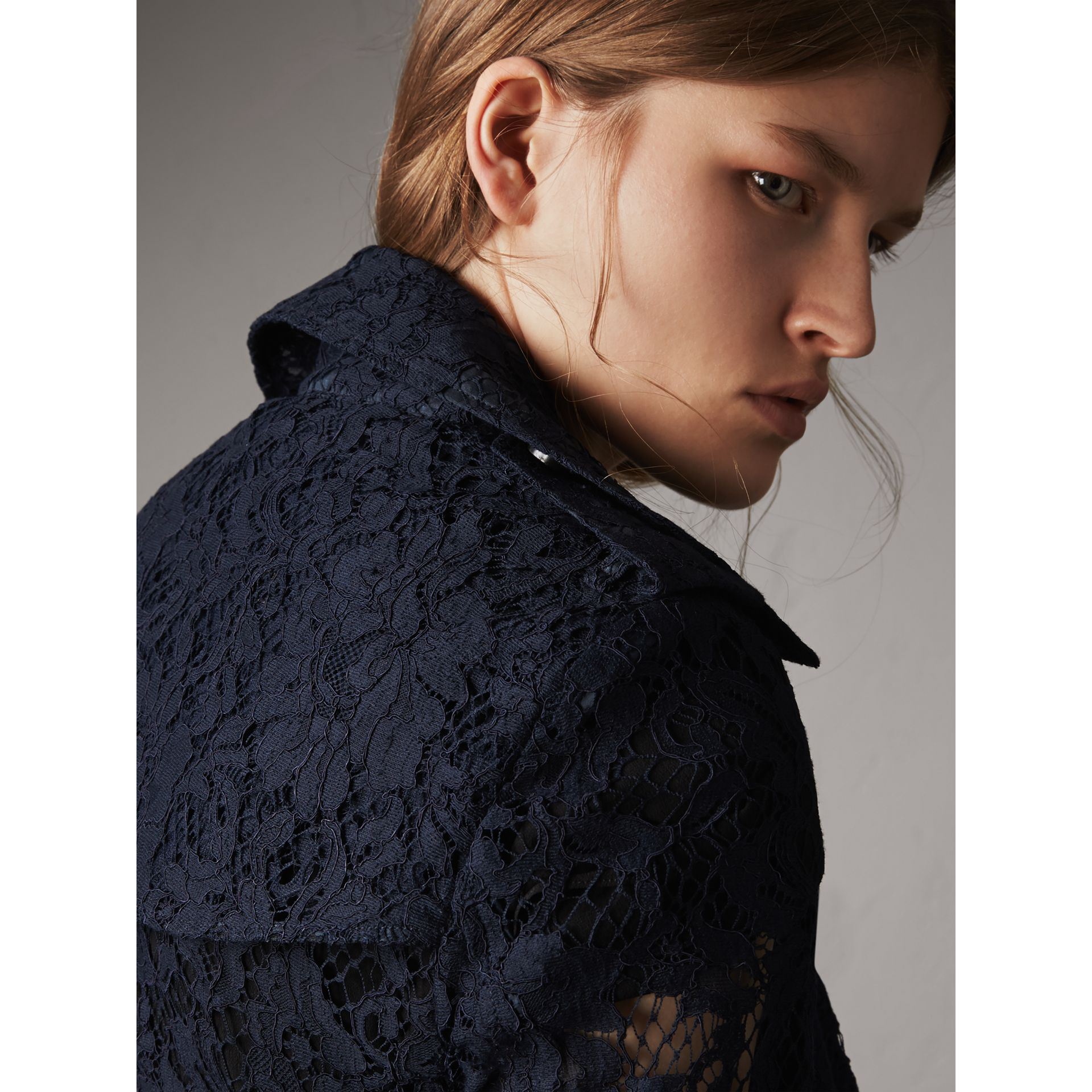 Macramé Lace Trench Coat in Navy - Women | Burberry - gallery image 5