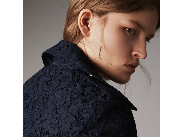 Macramé Lace Trench Coat in Navy - Women | Burberry - cell image 4