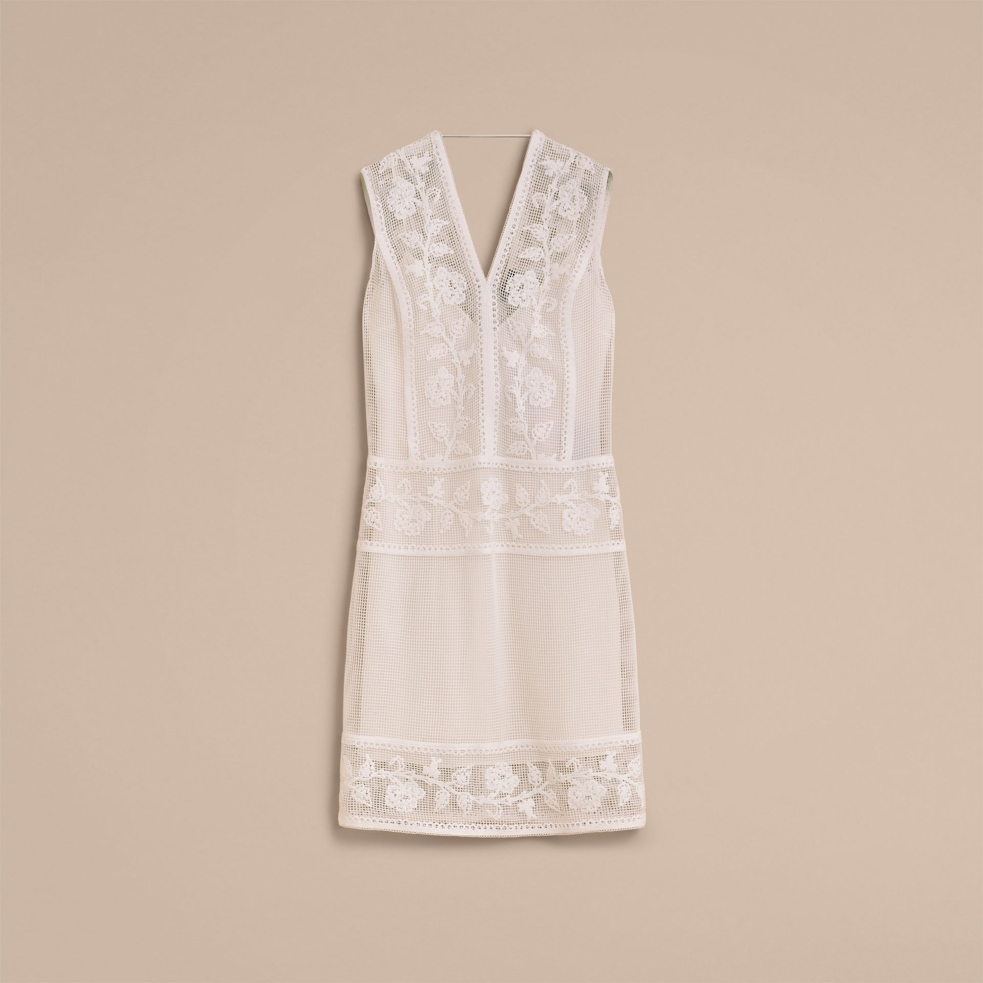 Net and Floral Macramé Lace Panel Dress in Off White - Women | Burberry Singapore - gallery image 4