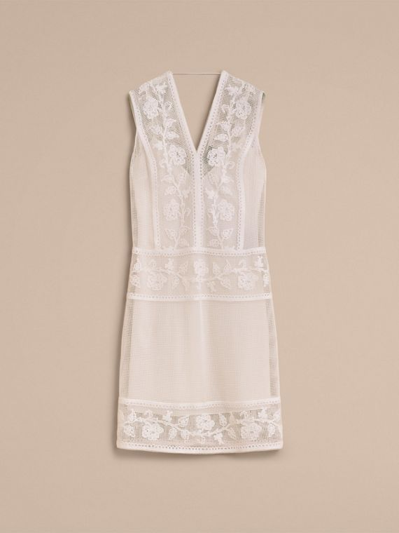 Net and Floral Macramé Lace Panel Dress in Off White - Women | Burberry Singapore - cell image 3