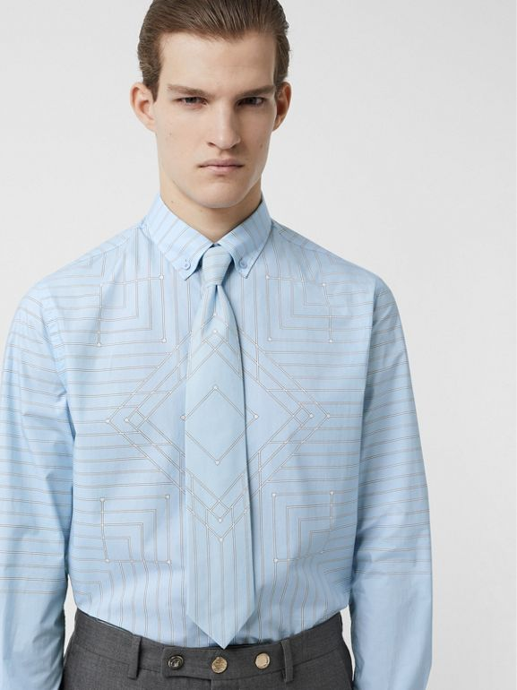 Classic Cut Geometric Print Cotton Tie in Pale Blue | Burberry - cell image 1