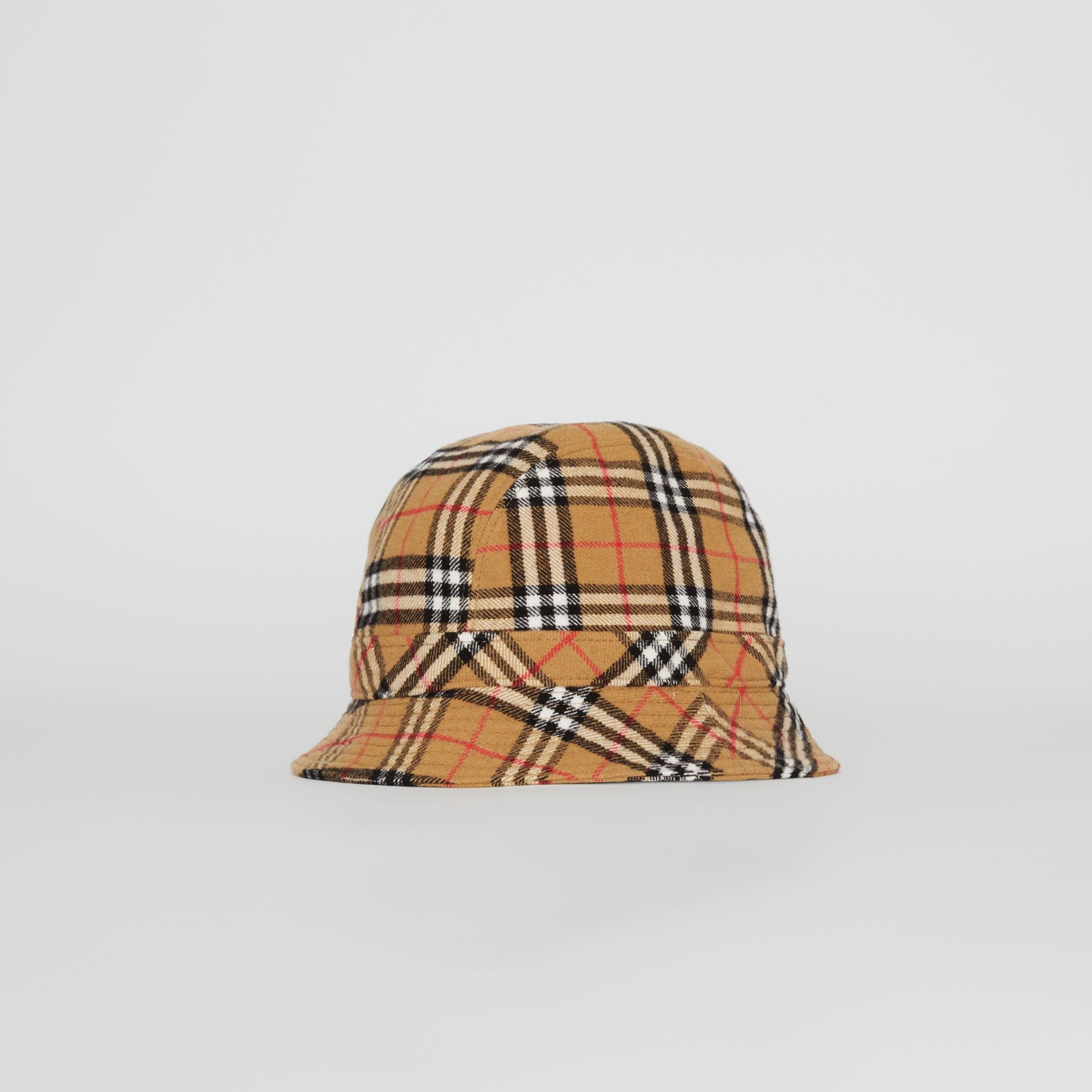Gosha x Burberry Check Flannel Bucket Hat in Antique Yellow | Burberry United Kingdom - gallery image 0