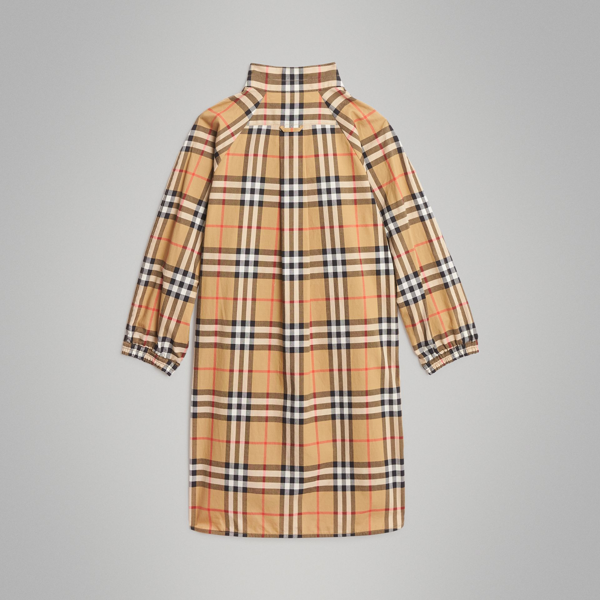 Vintage Check Cotton Shirt Dress in Antique Yellow | Burberry Canada - gallery image 3