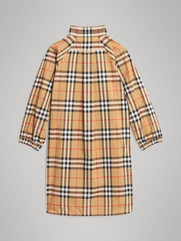 Vintage Check Cotton Shirt Dress in Antique Yellow | Burberry - cell image 3