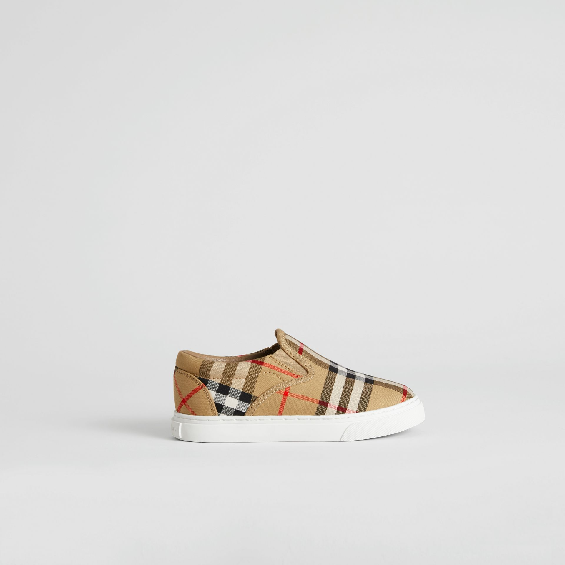 Vintage Check and Leather Slip-on Sneakers in Antique Yellow/optic White | Burberry Australia - gallery image 3