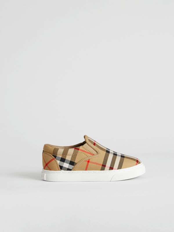 Vintage Check and Leather Slip-on Sneakers in Antique Yellow/optic White | Burberry Canada - cell image 3