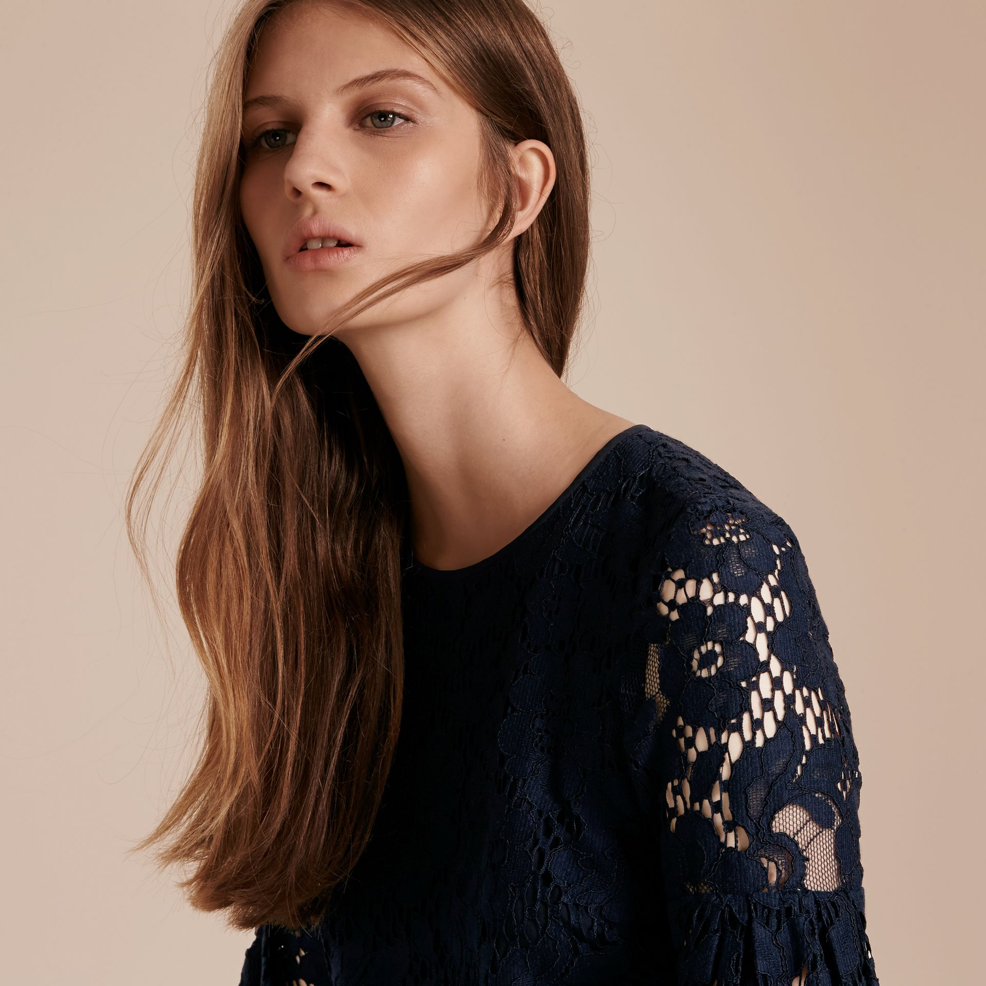 Navy Puff-sleeved Floral Lace Shift Dress - gallery image 5