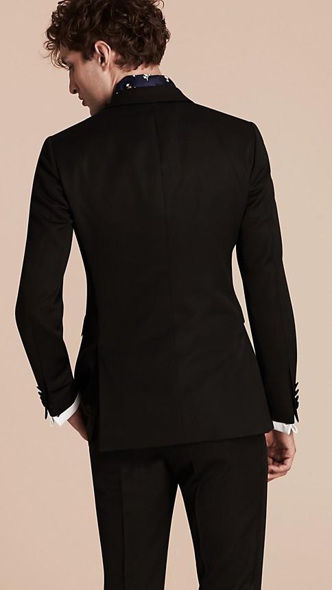 Black Satin Lapel Tuxedo Jacket - Image 3