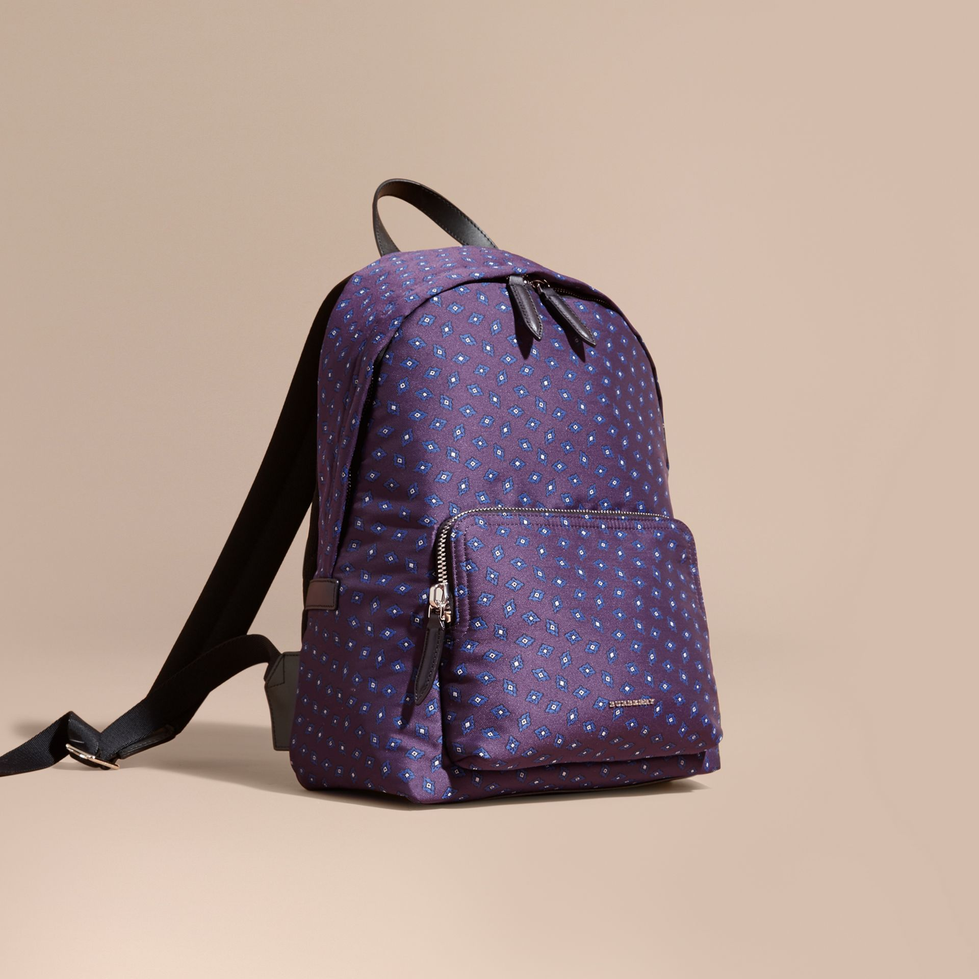 Deep aubergine Leather Trim Tile Jacquard Backpack - gallery image 1