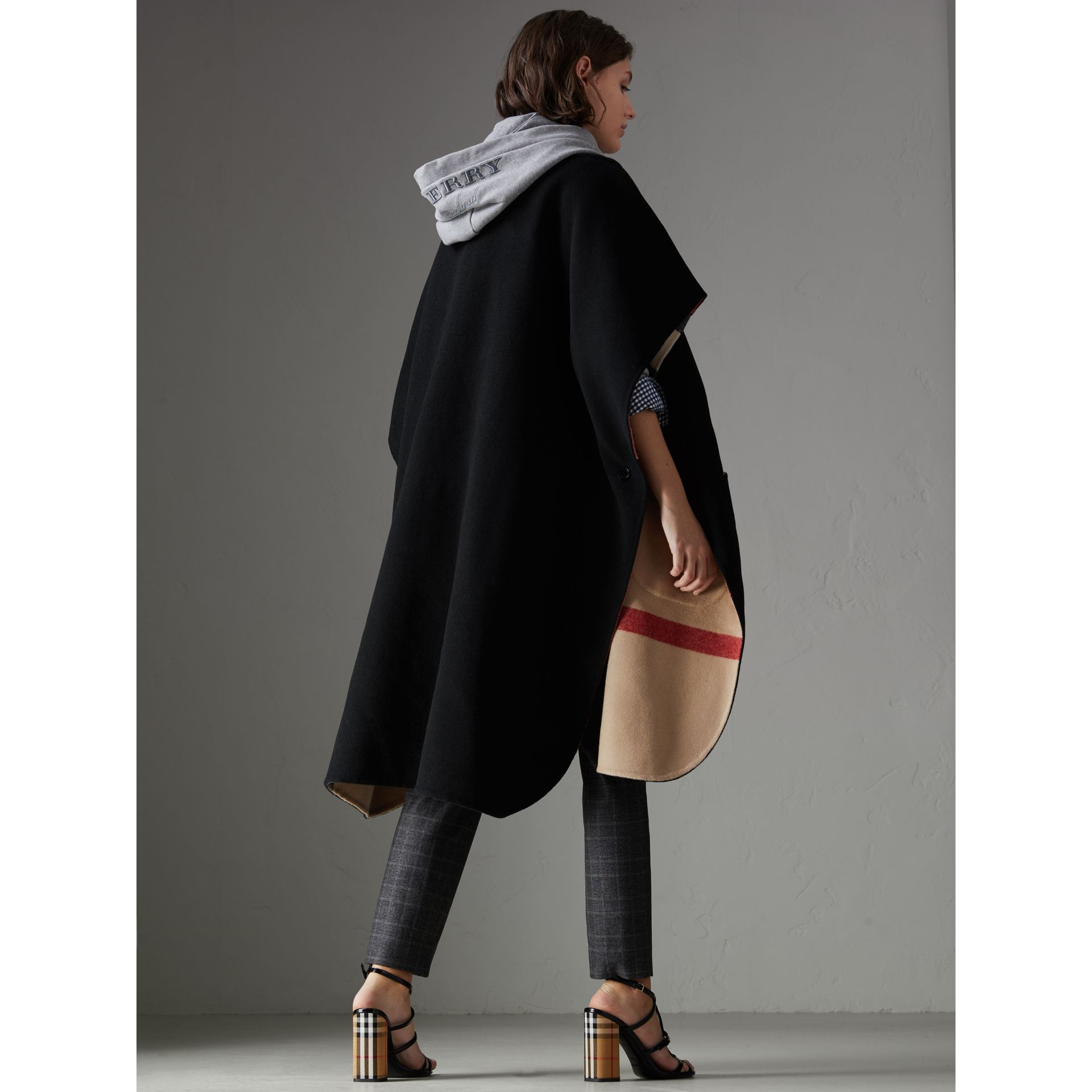 Reversible Check Oversized Poncho in Black - Women | Burberry - gallery image 2