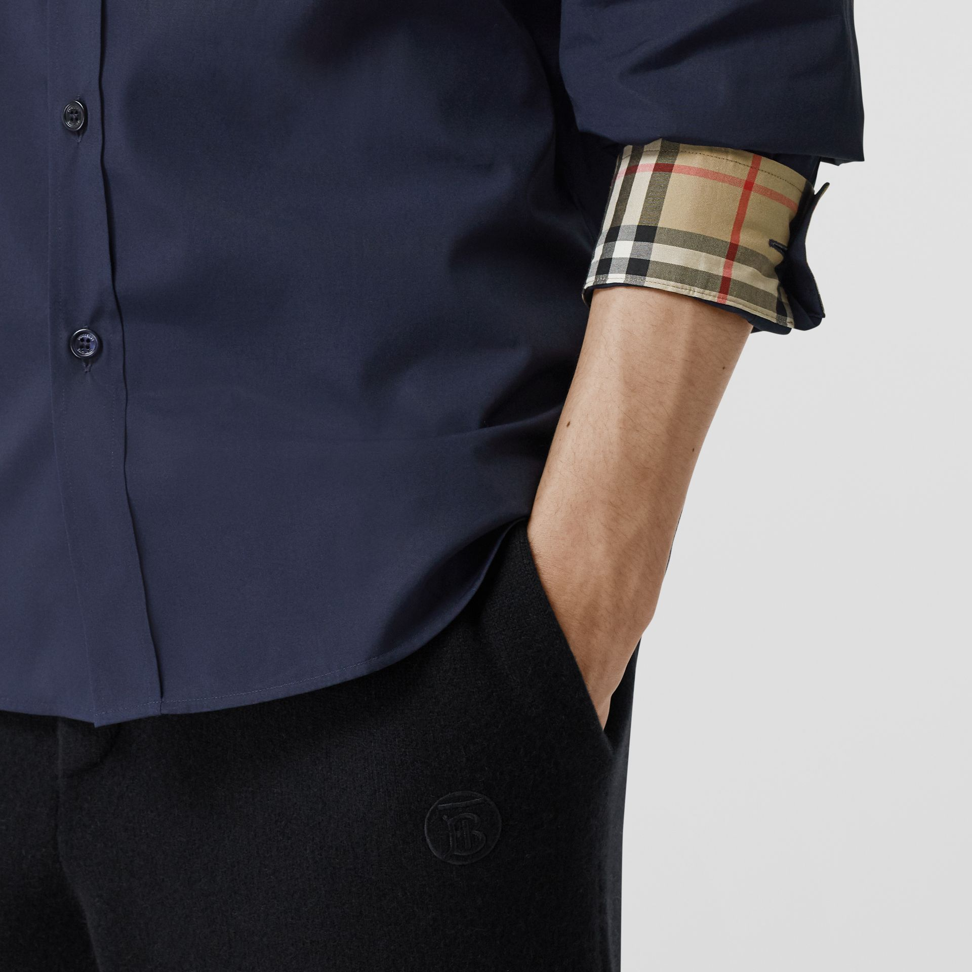 Slim Fit Embroidered EKD Stretch Cotton Shirt in Navy - Men | Burberry - gallery image 4