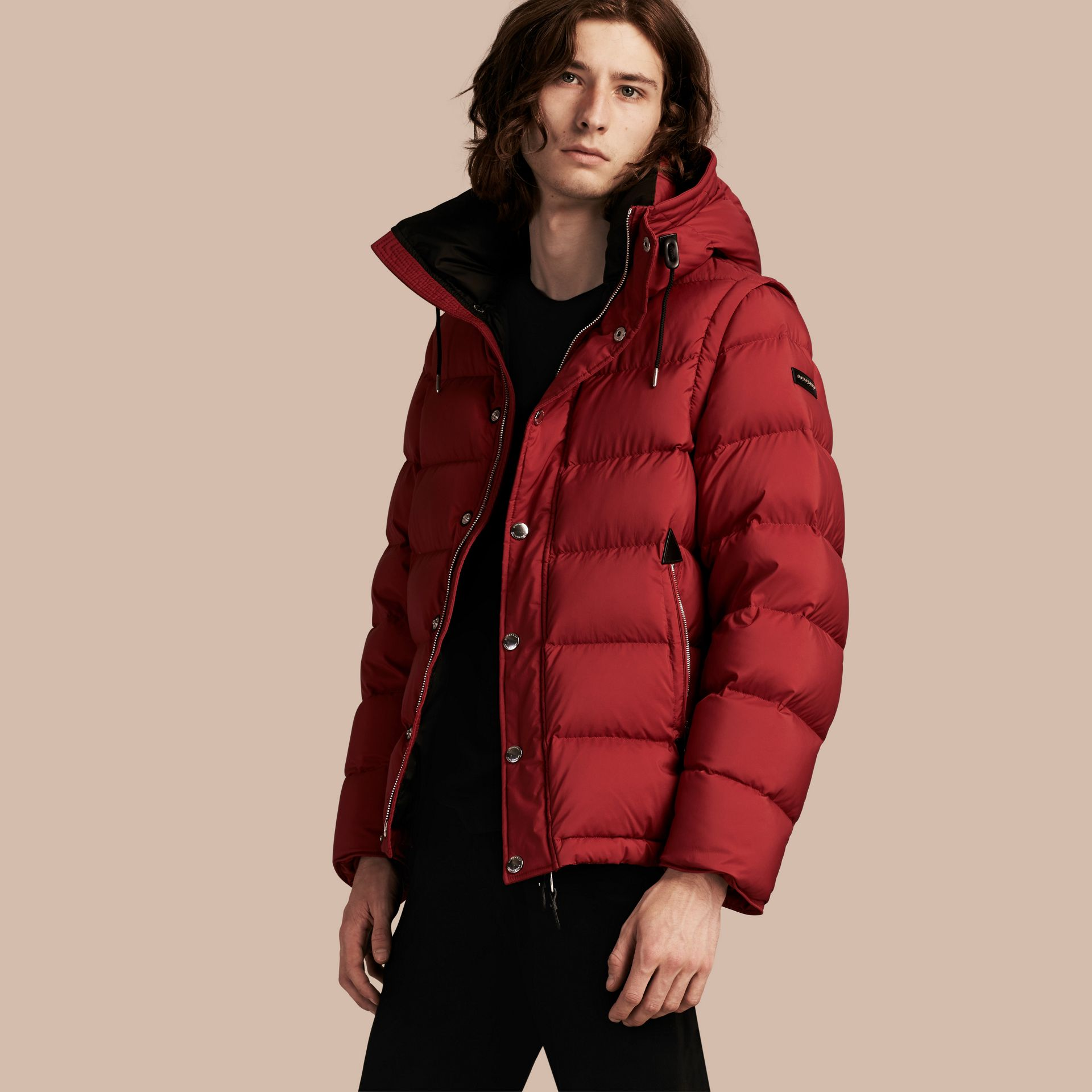 Parade red Down-filled Hooded Jacket with Detachable Sleeves Parade Red - gallery image 1