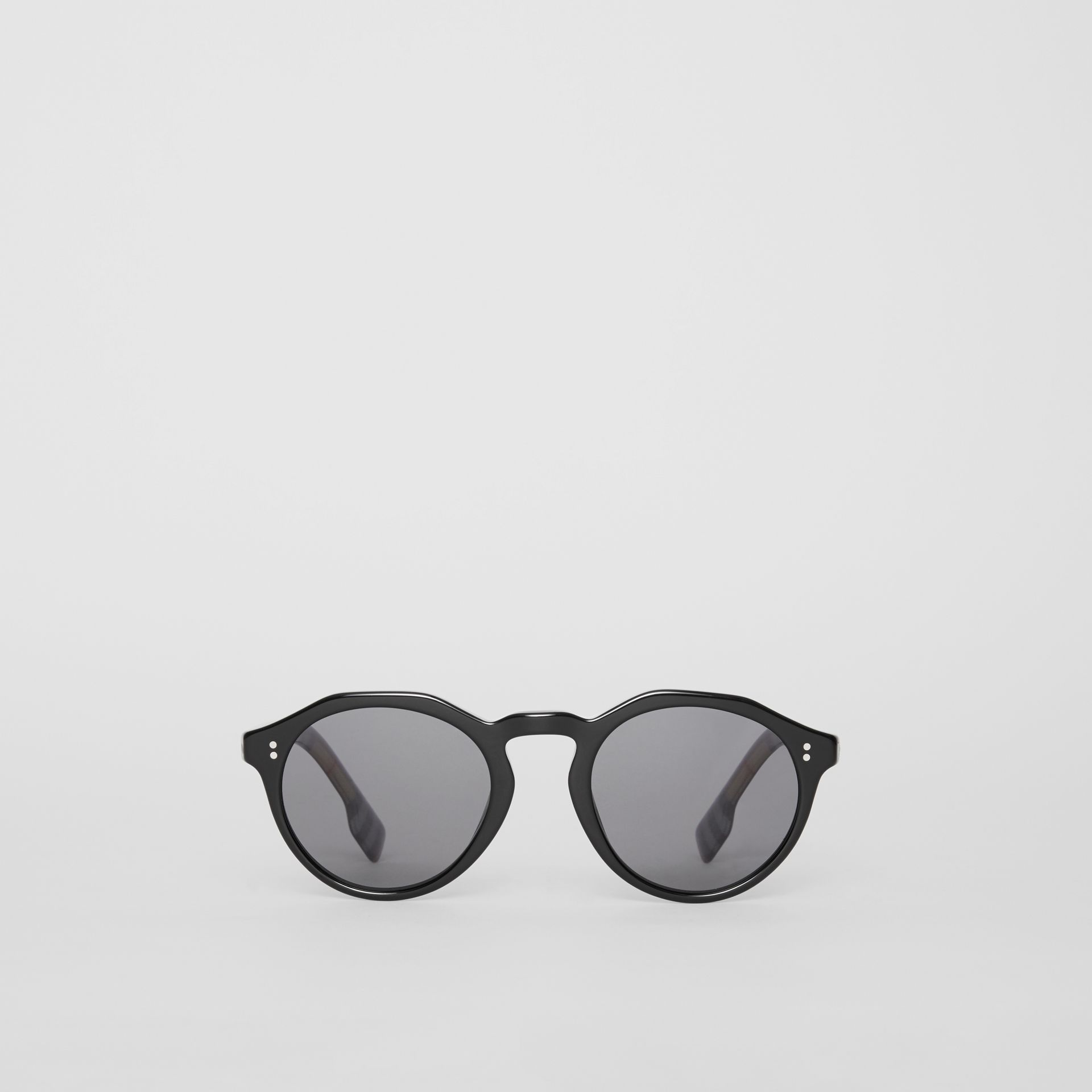 Vintage Check Detail Round Frame Sunglasses in Black - Men | Burberry - gallery image 0