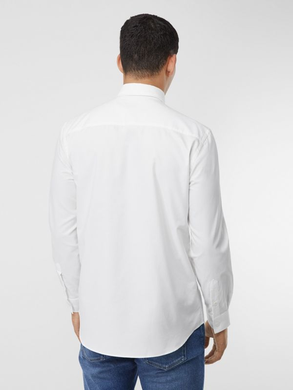 Classic Fit Tape Print Cotton Oxford Shirt in White - Men | Burberry - cell image 2