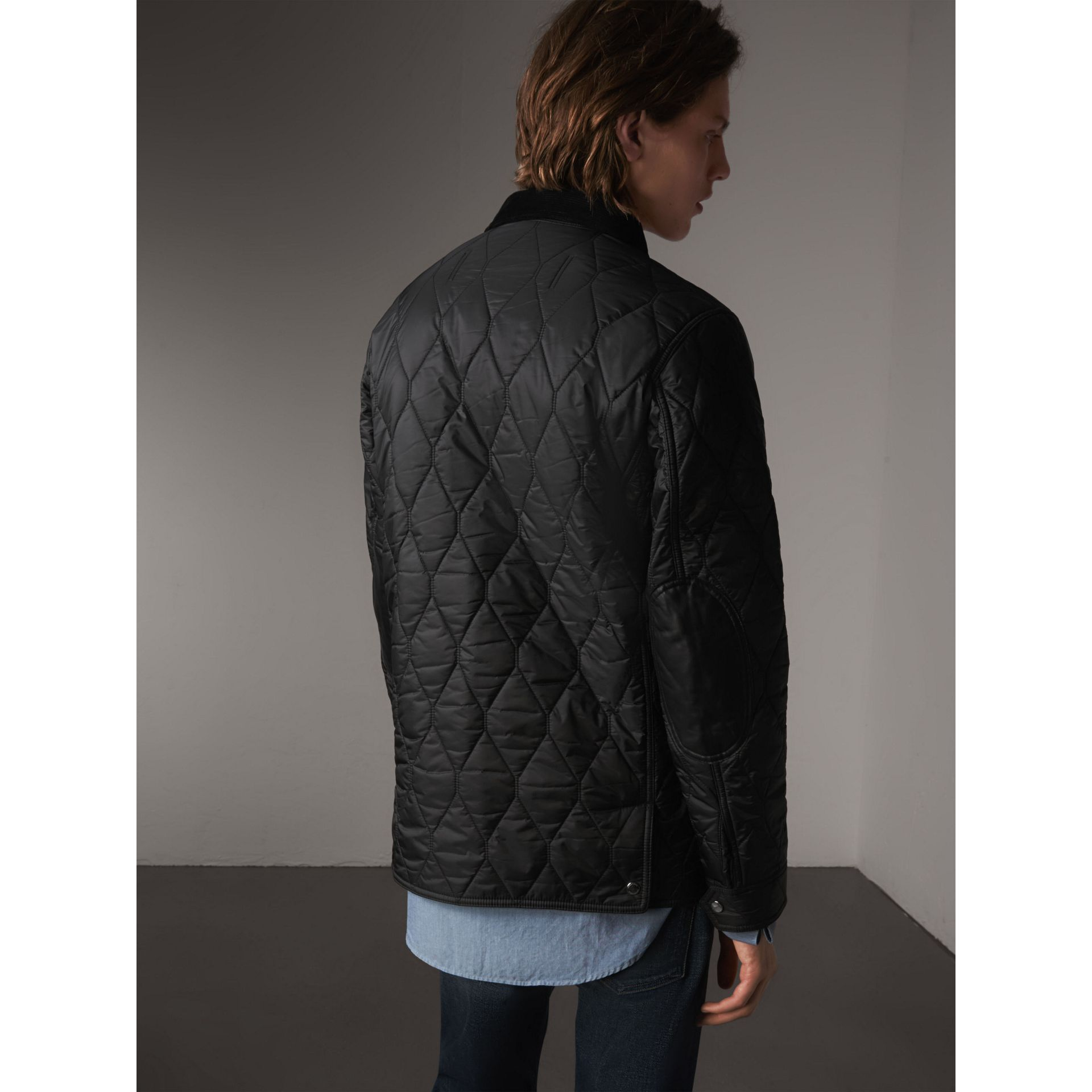Check Detail Quilted Jacket with Corduroy Collar in Black - Men | Burberry United States - gallery image 2