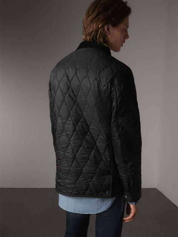 Check Detail Quilted Jacket with Corduroy Collar in Black - Men | Burberry - cell image 2